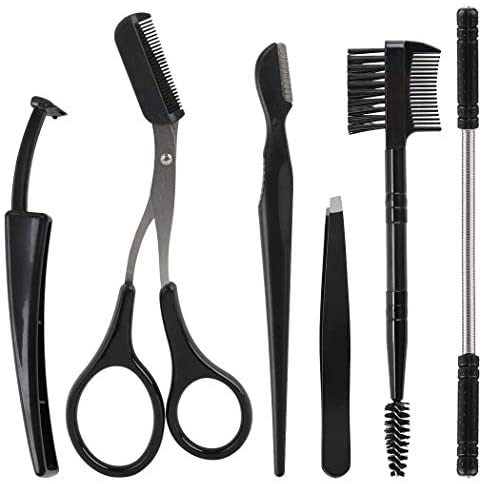 Coxeer 6PCS Hair Removal Spring Set Threading Hair Remover Portable Creative Facial Hair Remover with Eyebrow Scissors Brush Razor Tweezers Tool for Eyebrow Upper Lip, Chin, Cheeks and Neck