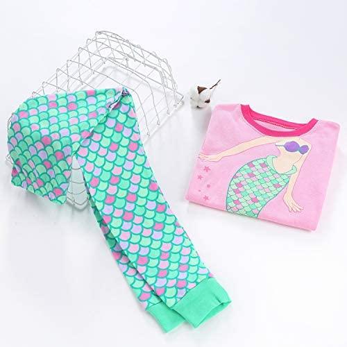 DAUGHTER QUEEN Girls Pajamas Set 100% Cotton Long Sleeve Kids Sleepwear
