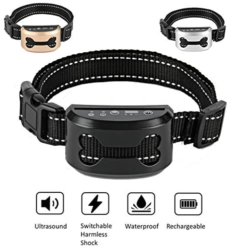 ShioSel, Bark Collar for Small, Medium, Large Dog - Stop Barking with Ultrasound and Harmless Shock - Intelligent Anti-Barking Deterrent Device - Black