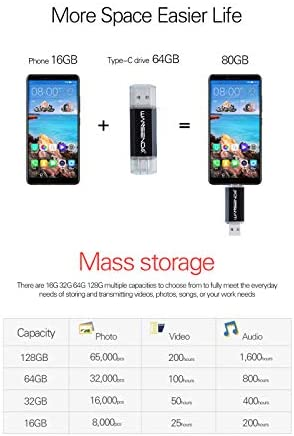 WANSENDA 512GB Type C USB 3.1 Flash Drive OTG USB C Phone Storage (Black)