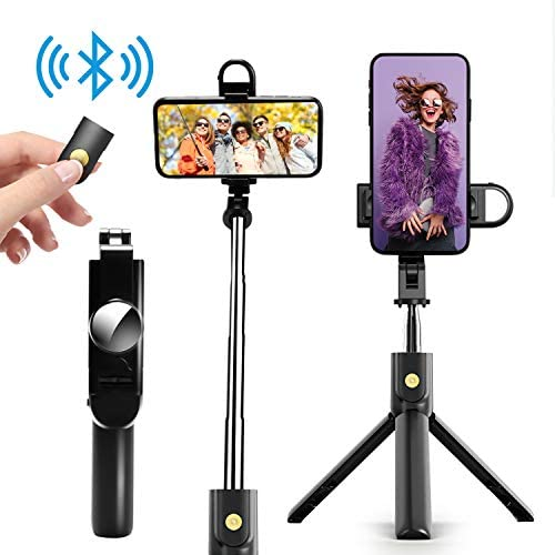 Selfie Stick Phone Tripod Stand - Portable Cellphone Tripod with Bluetooth Remote & Fill Light, Lightweight Smartphone Tripod for iPhone & Android Phone, Extendable to 27.6''