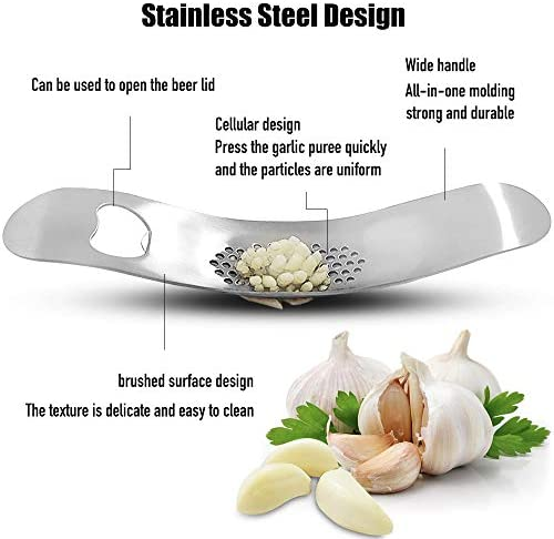 Garlic Presser Crusher Chopper Squeezer Slicer Mincer with Garlic Peeler Silicon + Clean Brush, Stainless Steel, Easy Squeeze and Press, Easy Clean, Perfect Gift