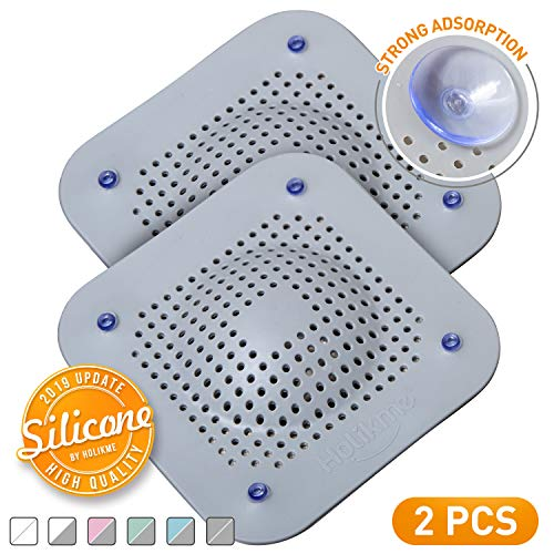 Holikme Drain Hair Catcher Shower Drain Cover, 2 Pack Silicone Drain Protector with 12 Detachable Suckers, Shower Drain Hair Trap for Tub,Bathroom,Kitchen,Bathtub,Sink,Wash Basin, Grey/Grey