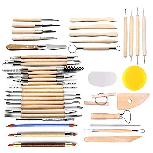 LINGSFIRE Pottery Tools, 44PCS Clay Sculpting Tools Wooden Handle Pottery Carving Tool Set Clay Cleaning Tools Kits Rock Painting Kit for Sculpture Pottery Art Crafts, Safe for Kids (44Pcs)