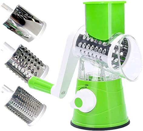 HWAAY 3 blade replaceable manual rotary cheese slicer and rotary cheese grater (green)