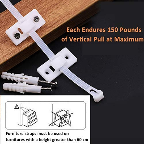 Furniture Straps (12 Pack) Furniture Anchors for Baby Safety Proofing, Wall Anchors Anti Tip Kit Easy Installation for Firmly Fixing, Adjustable Earthquake-Resistant Child Safety Straps