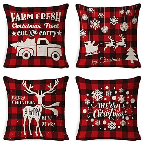 INSHERE Christmas Decor Buffalo Check Cotton Linen Decorative Throw Pillow Covers - Plaid Cotton Linen Cushion Cover Farmhouse Cushion Case for Couch Bed Sofa (Plaid Red Christmas 1, 4pcs 1818)
