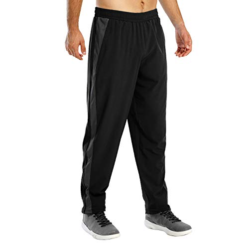 Susclude Men's Workout Sweatpants Open Bottom Athletic Pants Sportstyle Woven Pants for Running, Training