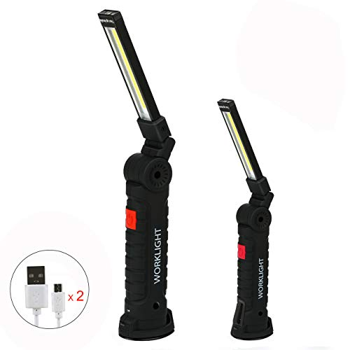 Rechargeable COB LED Work Light Jhua Portable Work Lights with Magnetic Base 5 Lighting Modes,360°Rotate Swivel Hooks Flashlight Led Worklight for Auto Repair Home Using(2 Pack (L+S))
