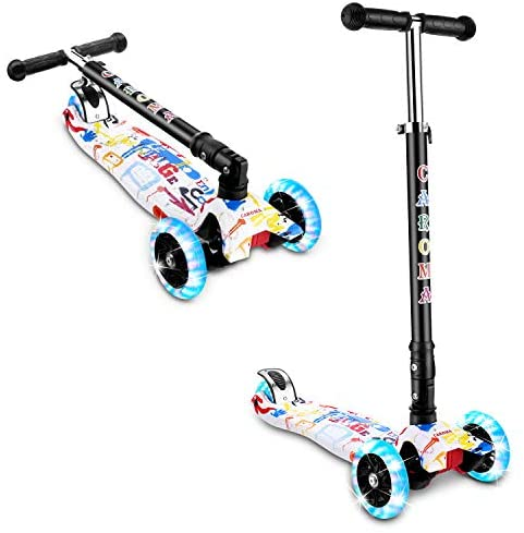 Kick Scooter for Kids, 3 Wheels Height Adjustable Kids Scooter with PU LED Light Up Wheel for Boys Grils Age 2-12 Years Old