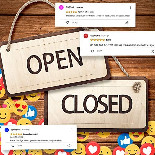 Wooden Open Closed Sign 12х6 Inch - Rustic Open and Closed Sign for Business - Business Open Sign with Rope