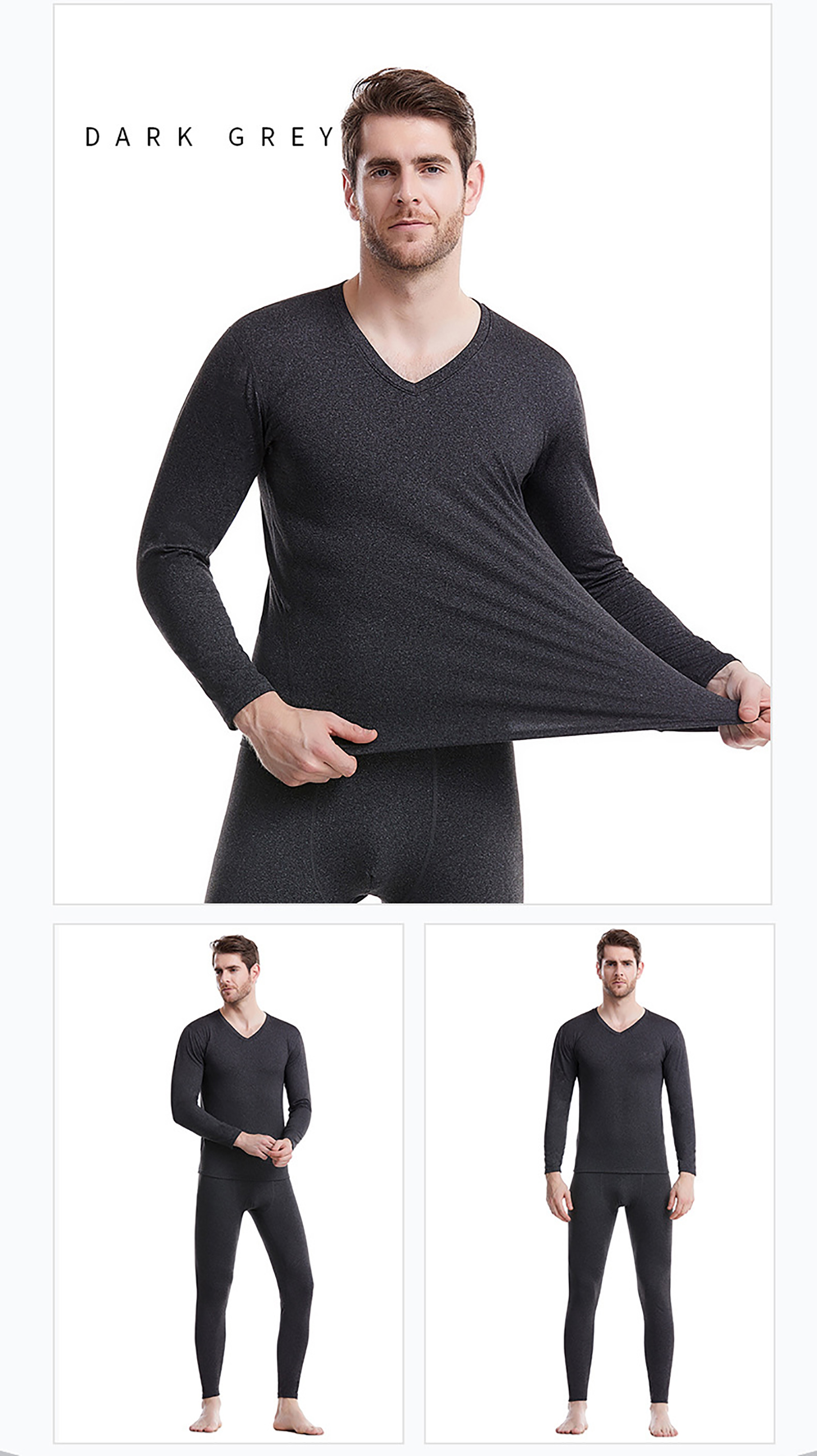 XGDong Men's Thermal Underwear Set Fleece Lined Long Johns Winter Base Layer Top & Bottom Set