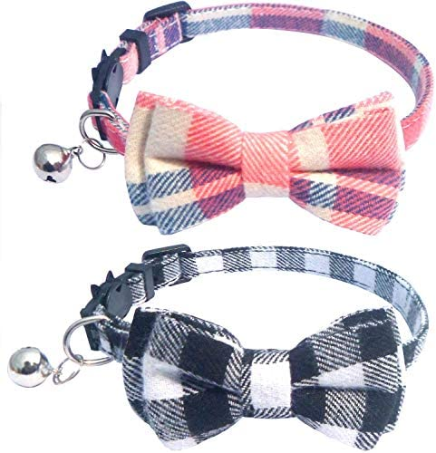 DAIXI Cat Collar, Breakaway with Cute Bow Tie and Bell for Kitty and Some Puppies, Adjustable from 7.8-10.5 Inch 2 Packset