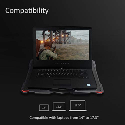 """AICHESON Laptop Cooling Pad for 17.3"""" Notebook, Red 5 Fans"""