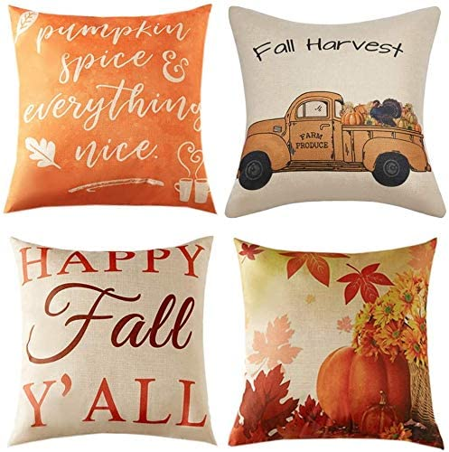 "Inshere Summer Theme Pillow Covers Pillowcases Hello Summer Throw Pillow Decorative Cushion Cover Cases 18"" x 18"" (Set of 4)"