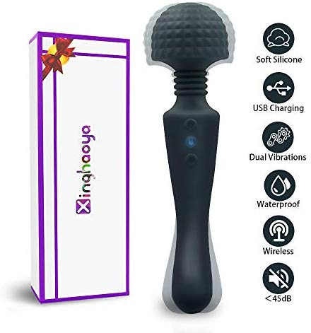 Wand Massager, Body Massager for Women with Whipser Quite/Stress Relief/Waterproof/Handheld/Cordless, Dual Head Vibration 10x10 Modes Massager for Therapy Back Neck Muscle Aches (Black)