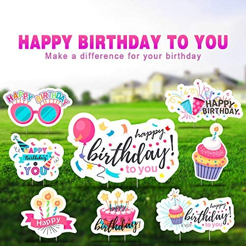 GloBal Pass Happy Birthday Yard Sign, Outdoor Lawn Decorations, Happy Birthday Yard Signs with Stakes, Birthday Party Decoration Yard Signs, Set of 8, Style 6