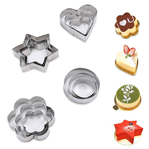 Winkeyes 12pcs Stainless Steel Cookie Cutters Mold, Biscuit Cutters Set Heart Star Circle Flower Shape for Kids Kitchen Baking Muffins, Cake, Pancake