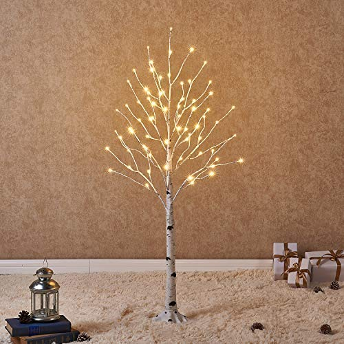 Prelit White Birch Tree with LED Lights 4FT 72L for Christmas Holiday Party Decorations Tree Plug in Indoor Outdoor Use