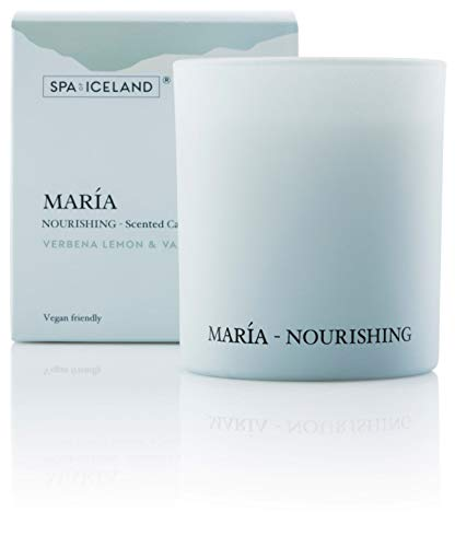 Spa Of Iceland Luxurious Scented Candles María - Natural Relaxing Aromatherapy Candle With Almond & Vanilla Scent - Soy Wax & Vegan Paraffin - Non Toxic Candles For Home, Bath And Housewarming Gift