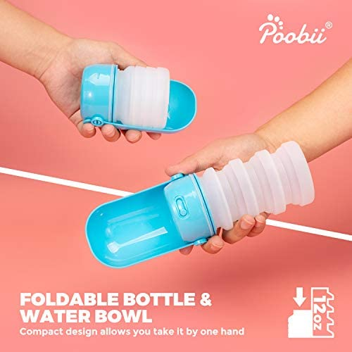 Poobii Dog Water Bottle, Foldable Pet Water Bottle for Dogs, Dog Travel Water Bottle, Dog Water Dispenser, Lightweight Dog Water Bottles for Walking, Food-grade Silicone, Blue