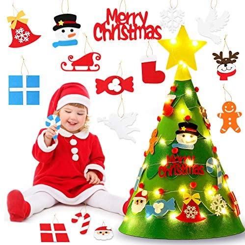Coxeer Felt Christmas Tree, 3D DIY Felt Christmas Tree Set Cute Creative DIY Xmas Tree with Ornaments String Light Xmas Gifts Christmas Home Decorations