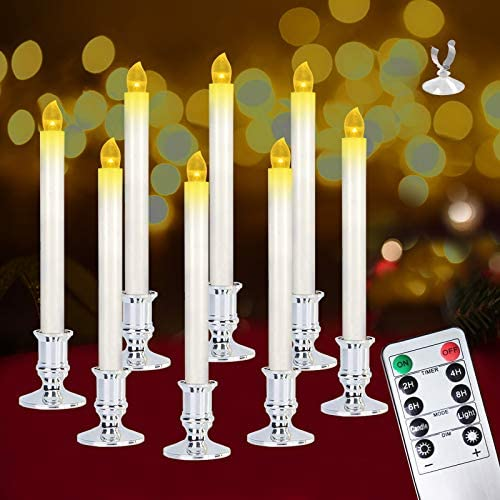 Christmas Window Candles Lights,8 Pack Battery Operated Flameless Taper Candles with Remote Control and Timer,Removable Silver Holder, Suction Cup for Seasonal & Festival Celebration,Warm White