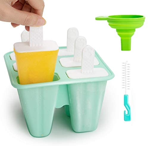 Popsicle Mold Ice Cream Mold - Reusable Silicone Ice Pop Molds, Easy Release Ice Popsicle Maker with Silicone Funnel and Cleaning Brush, Blue, 6 Pieces