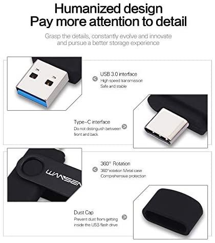 128GB Type C OTG USB C Flash Drive WANSENDA 2 in 1 USB 3.0/3.1 Thumb Drive for PC/Mac/USB-C Smartphones Samsung Galaxy S8/S8+/S9/S9+/S10, Note7/8/9,A6S/A9S LG G6 V30, Google Pixel XL (Black)