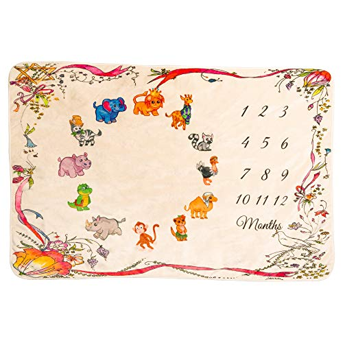 Eximius Power Baby Milestone Blanket Cute Animal Print – Flannel Fleece Milestone Blanket – 40 x 60 inches – Baby Photo Backdrop – Baby Milestone Blanket Girl and Boy – Milestone Blanket