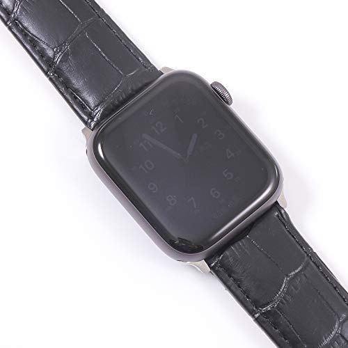 Yimitree Leather Strap Compatible with Apple Watch Band 40mm 44mm, Leather Replacement Band Compatible with Apple IWatch Series 4 (44mm) Series 3 Series 2 Series 1 (42MM) (Black, 42MM-44MM)
