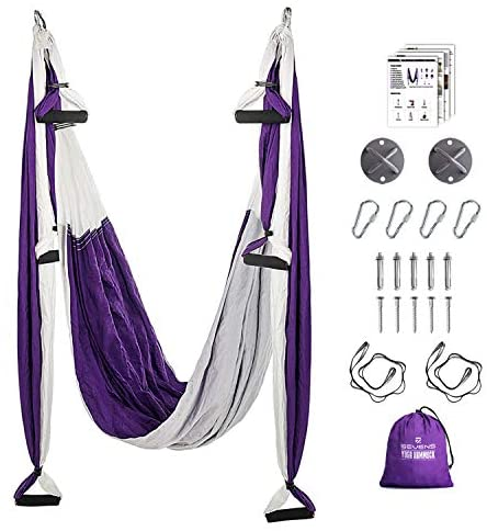 SEVENS Yoga Hammock for Body Exercise Yoga Swing Set with 2 Extension Straps Easy to Install Durable Aerial Yoga Swing for Adults Home Gym and Outdoor Fitness