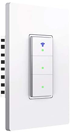 Smart Light Switch, 3 switches WiFi Smart Switch Button, Compatible with Alexa and Google Home, Remote Control with Timing Funtion, No Hub Required,Smart Life APP Provides Control from Anywhere