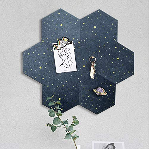 Fanciher 7 Pack Hexagon Felt Board, Cork Board, Memo Board, Adhesive Wall Bulletin Board, Message Board, for Office Bedroom Home Wall Decor with Push Pins with 20 pcs pins (Starry Blue)
