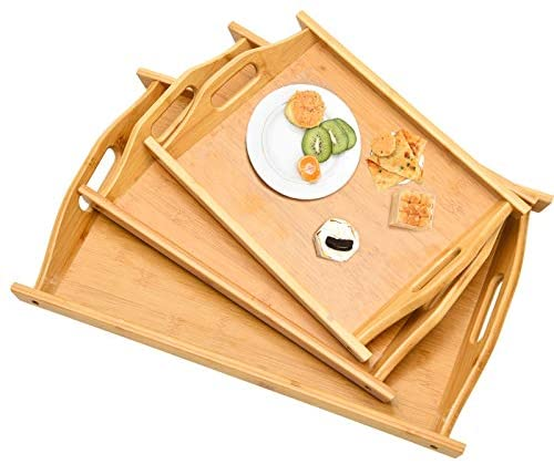 Large Bamboo Serving Tray with Handles Wood Platters Rectangular Decorative Trays for Breakfast Food Fruit Snack Pastry Tea Coffee, Set of 3
