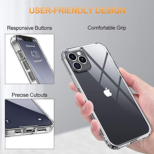 OULUOQI Compatible with iPhone 12 Pro Case and iPhone 12 Max Case, Shockproof Phone Case for iPhone 12 Pro & Max Both, 6.1 inch, Clear
