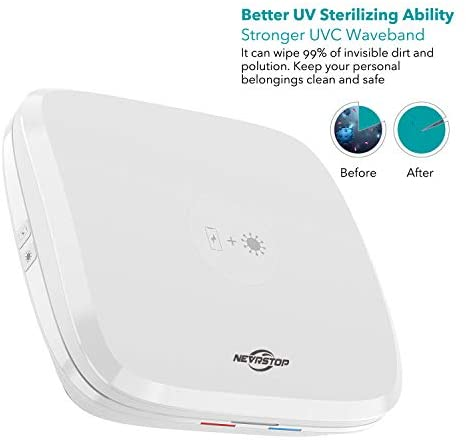 Nevrstop UV Sterilizer and Wireless Charger for iPhone, Apple Watch and AirPods. UV Sanitizer and QC 3.0 Fast Charging Wireless Charger for Smartphone, Smart Watch and AirPods.