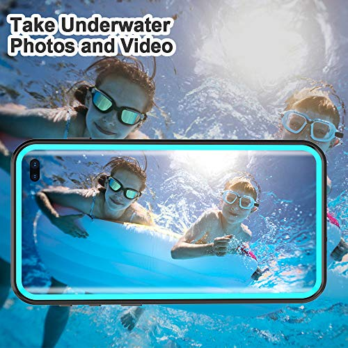 EFFUN Samsung Galaxy S10 Plus Waterproof Case, IP68 Certified Waterproof Underwater Cover Dustproof Snowproof Shockproof Case with Phone Stand, PH Test Paper and Floating Strap Black/Aqua Blue
