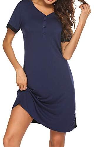 Ekouaer Women's Nightshirts Button-Down Sleepwear V-Neck Short Sleeve Nightgown