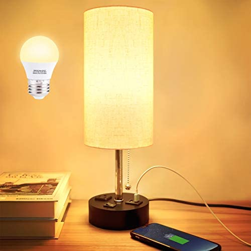 USB Bedside Table Lamp, Comzler Modern Nightstand Lamp with USB Port to Recharge Your Devices,LED Bulb Included,Fabric Shade,Ambient Light Bedside Desk Lamp for Bedroom
