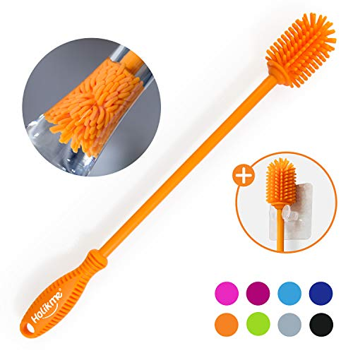 Holikme Silicone Bottle Brush Bottle Cleaner for your Bottles Vase and Glassware Best Water Bottle Cleaning Brush for Washing Containers Orange