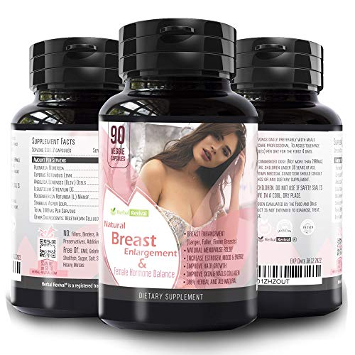 Herbal Revival Breast Enlargement Pills - 100% Natural Vaginal Health Supplement For Menopause Relief, Increase Bust and Cups Size, Improve Hair Growth, Skin and Nails Collagen 90 Veggie Capsules