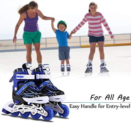 Inline Skates for Kids, Adjustable with Light Up Wheels Beginner Roller Fun Flashing Illuminating Roller Skates for Kids Boys and Girls 2 Colors and 3 Sizes