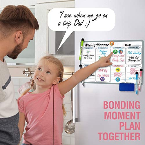 "Magnetic Dry Erase Calendar for Fridge Weekly 17 x 12"" - Magnetic Calendar for Refrigerator - Whiteboard Calendar with 8 Event Magnets and 4 Markers - Magnetic Whiteboard Calendar for Refrigerator"