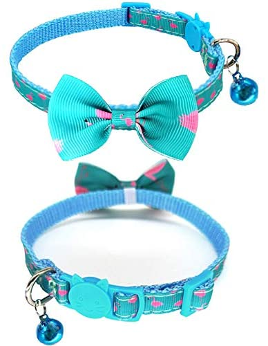 """CHUKCHI Breakaway Cat Collar with Bell, 2 Pack Safety Buckle Cat Collars with Bowtie, Adjustable from 8""""-12"""","""