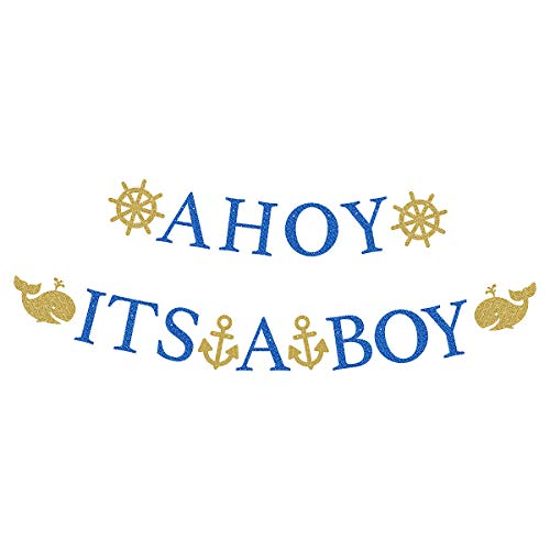 Baby Shower Safari Banner Sign Garland Blue Glitter Letters AHOY IT'S A BOY with Gold Glittery Dolphins Rudders Anchors Navy Theme Party Decorations Supplies Props for Baby & Mom