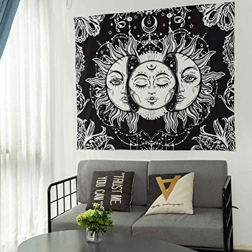 Inshere Sun and Moon Tapestry, Burning Sun with Stars Psychedelic Popular Mystic Wall Hanging Tapestry for Living Room Bedroom Dorm Room