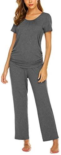 Women's Maternity Nursing Pajama Set Breastfeeding Sleepwear Set Double Layer Short Sleeve Top & Pants Pregnancy PJS