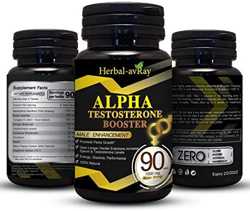 ALPHA Male Enlargment Pills For Men| Natural Testosterone Booster For Men| Stamina Fuel For Men| Male Enhancment Pills For Men Increase Size, Strength, Stamina, Energy| 90 Capsules Performance Booster