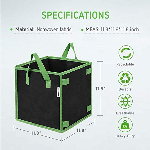 VIVOSUN 5 Pack 7 Gallon Square Grow Bags, Thick Fabric Bags with Handles for Indoor and Outdoor Garden
